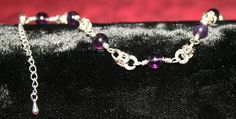 Silver Byzantium Weave Bracelet with Amethyst Beads - Adjustable Size.  CURRENTLY OUT OF STOCK