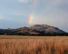 Next time somebody tries to tell you there ain't no mountains in Oklahoma, you just show 'em this! Wichita Wildlife Refuge, Wichita Mountains, Rainbow Images, All Is Lost, Gods Promises, Over The Rainbow, Pilgrimage, Just Go, Oklahoma