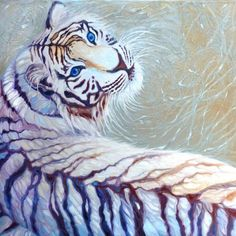Gill Bustamante: white tiger with blue eyes, 2013 Oil Painting