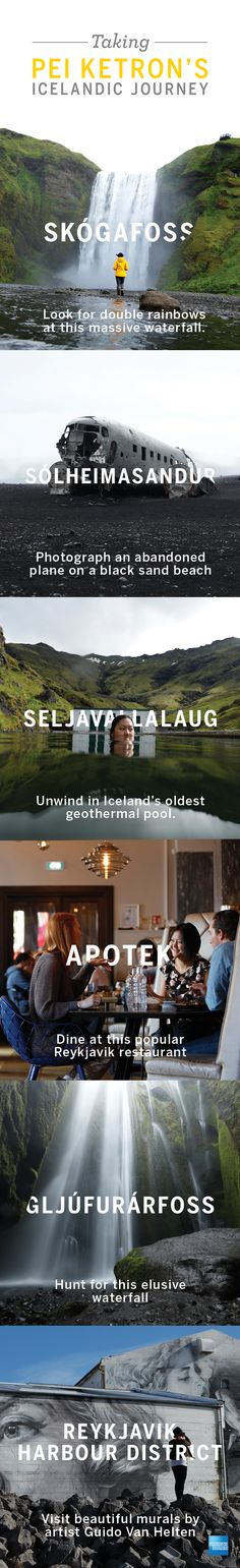 We followed travel photographer Pei Ketron to Iceland. If you're planning a vacation or business trip to the Land of Fire and Ice, try touring some of her favorite spots. Iceland is known for the Blue Lagoon and the Northern Lights, but there's more to see. Impressive waterfalls like Skógafoss & Gljúfurárfoss are a common sight. Visit Iceland's oldest geothermal pool. Don't miss the great artwork and dining in Reykjavik. Click to start looking at flights & hotels. #journeyneverstops