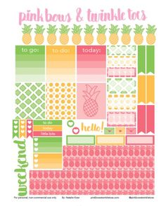 FREE Erin Condren LifePlanner sticker printable - pineapple party, tropical fruit theme - vertical planner printable
