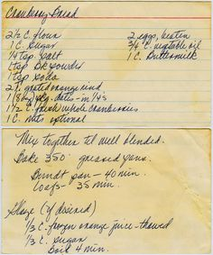 Cranberry Bread :: Family Recipes :: preserving recipes :: In the Kitchen :: Good Ole Days :: from the heart :: old fashion cookery