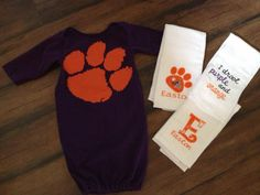 Clemson Baby Gift Set  Daddy Tshirt Baby Gown Burp Cloths Football  https://www.facebook.com/TheGumdropStop Find us on Facebook and Etsy to order