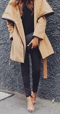 #winter #fashion / camel coat + plaid