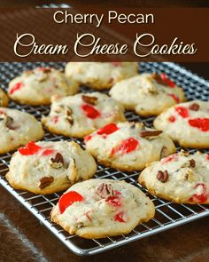 Cream Cheese Cookies with Cherries and Pecans. An easy to make drop cookie that takes its inspiration from an old family recipe for a favourite pound cake.