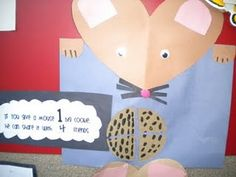 If you give a mouse a cookie fractions, could do this with any character.. or with a flor and pedals for seaons unit