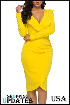 Women's Sexy V Neck Bodycon Long Sleeve/Sleeveless Ruffle Dress Front Slit Bandage Plus Size Midi Club Dresses Work Dresses For Women, African Dresses For Women, Classy Dress, Classy Outfits, Fashion Dresses, Dress Outfits, Collar Dress, Club Dresses, Ruffle Dress