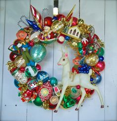 Cara's Memories Wreath Love that Celluloid Deer and the Putz House!!!