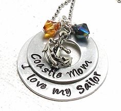 """Hand Stamp for Wife, Mom, Aunt or Sister """"I Love my Sailor"""" Aluminum Washer Neckle With Anchor Charm and Swarovski Crystals on Etsy, $26.00"""