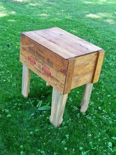 Crate Table, would be sweet draped with a vintage cloth