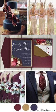 Navy marsala and gold wedding. Navy burgundy and gold wedding. Navy and maroon wedding invitations. Navy and marsala groomsmen. Burgundy bouquet. Gold bridesmaids dresses. Navy and maroon wedding cake. Pocket invitations. Navy invitations