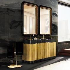 A Maison Valentina (www.maisonvalentina.net) assina o lavatório Symphony, inspirado nos órgãos das grandes catedrais. A estrutura em mármore nero marquina oferece espaço para duas cubas e o acabamento dos tubos de latão que decoram a peça é feito com ouro. O dourado contrasta com o preto de base e se alinha aos luxuosos espelhos propostos como complemento