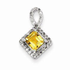 Sterling Silver Diamond and Citrine pendant