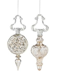 Another great find on #zulily! Sparkling Finial Glass & Metal Ornament - Set of Two #zulilyfinds