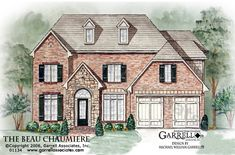 Beau Chaumiere House Plan 01134, Front Elevation, Traditional Style House Plans, Master Down House Plans