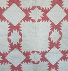 Antique-Circa-1900-Red-amp-White-Feathered-Star-Quilt