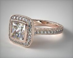 14K Rose Gold Hand Engraved Bezel Set Halo Engagement Ring with a Princess Cut Diamond | Rose Gold Engagement Rings | Pavé Engagement Rings | Unique Engagement Rings | Vintage Engagement Rings | James Allen ring style: 17442R14 | Click to see this ring in 360° HD! #engagementring #princessengagementring #princesscutring