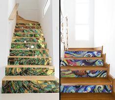 22 new Ideas farmhouse staircase stair risers Mosaic Stairs, Tile Stairs, House Stairs, Carpet Stairs, Mosaic Tiles, Mosaic Art, White Staircase, Winding Staircase, Staircase Design