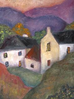 Village in the Valley by Jeremy Mayes Easy Canvas Painting, Abstract Canvas Art, Cottage Art, Naive Art, Urban Art, Home Art, Watercolor Paintings, Contemporary Art, Illustration Art