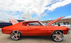 "#BecauseSS Kandy Orange 72' Chevelle SS on 24"" Bonspeed Sweeps. atl atlanta. custom orange interior. sweep wheels atlanta candy orange paint Youngblood Kreations"