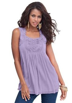 Angel Chiffon Camisole by Denim 24/7 | Plus Size Shirts and Blouses | Roamans