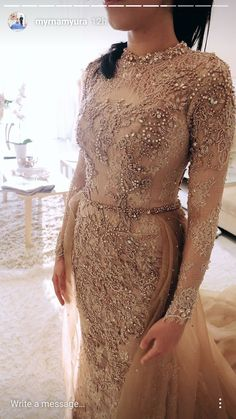 46 Ideas Wedding Gown Hijab Haute Couture For 2019 Kebaya Wedding, Muslimah Wedding Dress, Hijab Wedding Dresses, Best Wedding Dresses, Bridal Dresses, Wedding Gowns, Kebaya Lace, Kebaya Dress, Kebaya Brokat