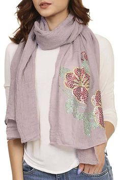 Shoptiques Product: Sequined Flower Scarf - main