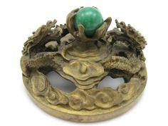 Antique Brass Dragon Paperweight - Jade