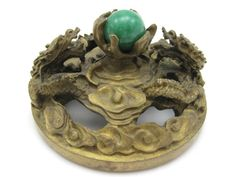 Antique Brass Dragon Paperweight - Jade