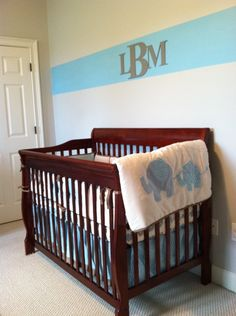 wall letters from Craft Cuts; via project nursery    - like the monogram in the stripe