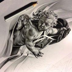 Finished up this #cherub #angel for a sleeve im working on! Can't wait to tattoo it!! #tattoo #spooky #theprocess #ink #inksav #wip #art #artist #pencil #pleasedontstealmyshit #graphite #worldofartists #worldofpencils #sketch_daily #artfido #arts_help #art_spotlight #BLVART #sculpture #realism #blackandgrey #bnginksociety