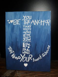 You Be The Anchor - Mayday Parade Lyrics Painted On Stretched Canvas on Etsy, $20.68