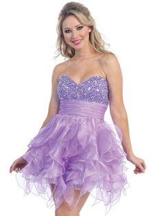 A-line Sweetheart Organza Short/Mini Lilac Prom Dress at sweetquinceaneradress.com
