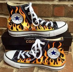 767f7e373314 Custom Sneakers Toddler Flame Painted Converse, Flaming High Tops for Kids,  Firetruck Birthday Shoes