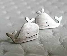 Whale Stud Earrings - Whale Jewelry - Handmade Sterling Silver Jewelry