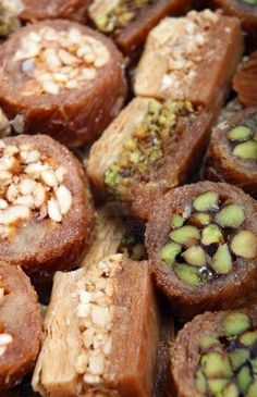 Baklava, Traditional Arabic Sweet Pastries (filled with pistachio, cashew or walnuts, baked golden brown & coated with syrup) For Fast-Breaking in Ramadan.