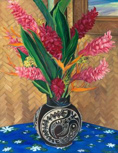 Bouquet d'Opuhi 2005 by Melanie Shook Dupre ~ x Original Art, Original Paintings, Hawaiian Art, Bouquet, Tahiti, Impressionism, Still Life, Buy Art, Oil On Canvas