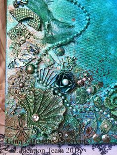 hings to make and do - Handmade Paper Paper Book, Paper Art, Paper Crafts . These vow books are handmade with hand drawn artwork or calligraphy Mixed Media Boxes, Mixed Media Canvas, Mixed Media Art, Mermaid Canvas, Mermaid Art, Mermaid Tails, Seashell Art, Seashell Crafts, Altered Canvas