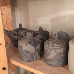 Some carved lidded jars by request it's only Tuesday! I still have plenty of week. #ceramics #clay #pottery
