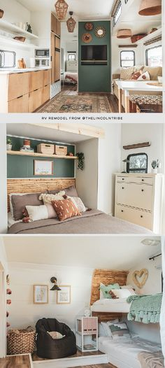 Peek inside this family-friendly Toy Hauler remodel with an earthy, modern interior / Photo and Renovation from Rv Interior, Modern Interior, Interior Photo, Interior Design, Tiny House Living, Rv Living, Camper Makeover, Camper Renovation, Remodeled Campers