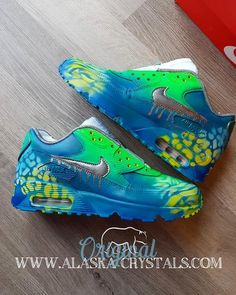 meet a9826 d0b75 Custom Painted Nike Air Max, Urban Spray Painted Custom Shoes, Graffiti  Green And Blue Trainer, Personalised Personalized Prom Sneakers