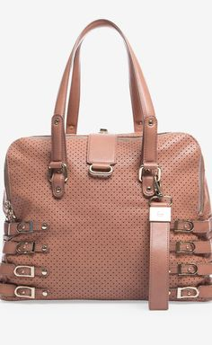 Jimmy Choo Pink Perforated Leather Blythe Bag | VAUNTE