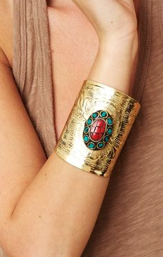 turquoise and coral stones cuff