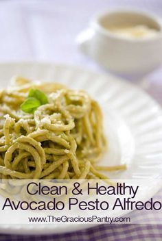 Clean Eating Avocado Pesto Alfredo (sauce tossed w/ spaghetti squash... not noodles)