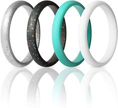 Price: (as of - Details) Product Description ThunderFit Women's Thin and Stackable - 7 Rings / 4 Rings - Silicone Rings Wedding Bands Width - Thick Width Thickness Width Thickness A Metallic Pink, Silver Glitter, Black Silver, Wedding Ring Designs, Wedding Ring Bands, Fishing Engagement, Classic Wedding Rings, Pink Sparkles, Silicone Rings