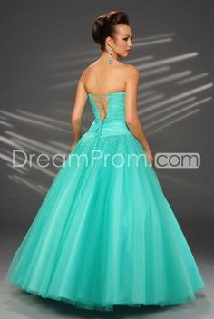 Tulle Beaded Strapless Rouched Bodice with Floor Length Ball Gown Skirt Hot Sell Prom Dress PL16