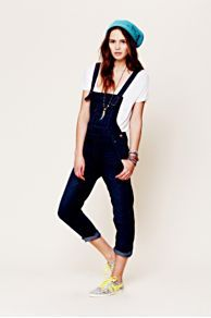 washed denim overall, free people