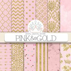 """Pink Digital Paper: """" Pink and Gold"""" with pink background, pink scrapbook paper, pink printable, pink and gold patterns with damask, chevron #romantic #digitalpaper #glitter #gold #damask #pink #scrapbookpaper #planner #partysupplies"""