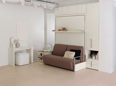 Amazing space saving furniture. This one is a queen size bed.