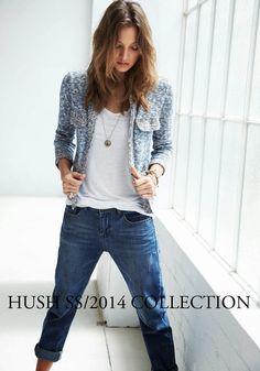 Boyfriends Jeans + Multi-coloured short cardi, Hush Homewear
